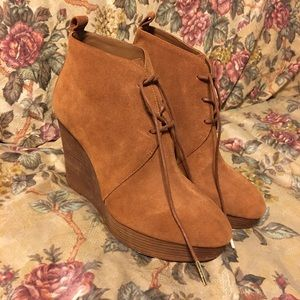 Michael Kors Pierce Lace-Up Wedge Booties